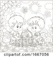 Poster, Art Print Of Children With An Easter Basket