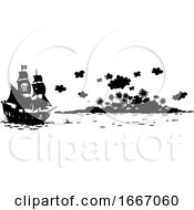 Pirate Ship And Island In Silhouette
