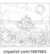Toy Boat Near A Beach