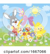 Poster, Art Print Of Easter Basket With A Chick And Bunny