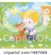 Poster, Art Print Of Boy Playing With A Puppy Dog