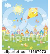 Kite Flying Over A Town