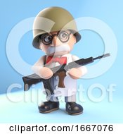 Poster, Art Print Of 3d Mad Scientist Professor Character Wearing An Army Helmet And Holding A Rifle Gun 3d Illustration