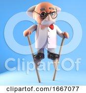 Poster, Art Print Of 3d Crazy Mad Scientist Character Walking On Stilts 3d Illustration