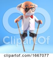 3d Crazy Mad Scientist Character Walking On Stilts 3d Illustration