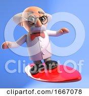 3d Cartoon Mad Scientist Professor Character Surfing On A Surfboard 3d Illustration