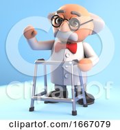 3d Mad Scientist Professor Character Walking With A Zimmer Frame 3d Illustration