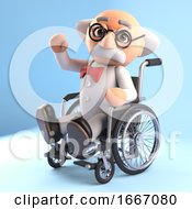 3d Mad Scientist Professor Character Waving From A Wheelchair 3d Illustration