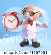 3d Funny Cartoon Mad Scientist Professor Character Holding An Alarm Clock 3d Illustration