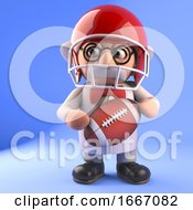 Poster, Art Print Of Mad Scientist Professor In 3d Playing American Football 3d Illustration