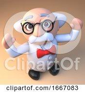 Poster, Art Print Of 3d Cheering Mad Scientist Professor Cartoon Character 3d Illustration