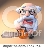 Poster, Art Print Of 3d Mad Scientist Professor Cartoon Character Holding A Chainsaw 3d Illustration