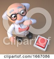 Poster, Art Print Of 3d Mad Scientist Professor Cartoon Character Looking At A Button On The Floor 3d Illustration