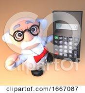 Poster, Art Print Of 3d Mad Professor Scientist Cartoon Character Holding A Digital Calculator 3d Illustration