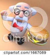 3d Mad Scientist Professor Cartoon Character Eating A Cheeseburger Burger 3d Illustration