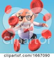 Poster, Art Print Of 3d Cartoon Mad Professor Scientist Looking At Large Blood Cells 3d Illustration