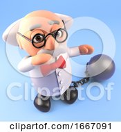 Poster, Art Print Of 3d Cartoon Mad Professor Scientist Character Wearing A Ball And Chain 3d Illustration