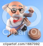 3d Mad Scientist Cartoon Character Holding An Auction Gavel 3d Illustration