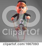 Funny Cartoon 3d Scottish Man In Kilt Using Stilts 3d Illustration