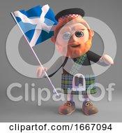 3d Scottish Man In Kilt Waving The Scottish Flag 3d Illustration