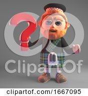 Scottish Man In Kilt With A Red Beard Holding A Question Mark Symbol 3d Illustration Render