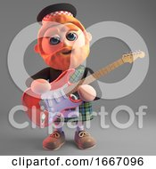 Poster, Art Print Of 3d Bearded Scottish Man In Kilt Playing An Electric Guitar 3d Illustration