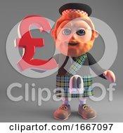 Cartoon 3d Bearded Scottish Man In Kilt Holding A UK Sterling Pounds Currency Symbol 3d Illustration