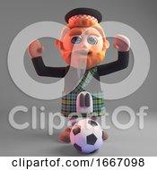 3d Bearded Scottish Man In Kilt Playing Football 3d Illustration