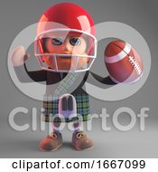Cartoon 3d Scottish Man In Kilt Playing American Football 3d Illustration