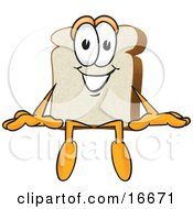 Slice Of White Bread Food Mascot Cartoon Character Sitting