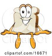 Slice Of White Bread Food Mascot Cartoon Character Sitting