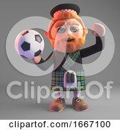Bearded 3d Scottish Man In Kilt Holding A Soccer Football 3d Illustration
