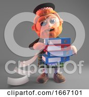 3d Scottish Man In Kilt With Sporran Loses Some Files From The Folders He Is Carrying 3d Illustration