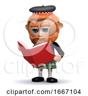 3d Scotsman Reading A Book