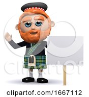 3d Scotsman With Placard
