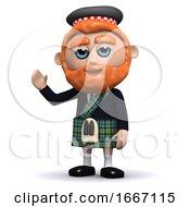 3d Scotsman Waves A Friendly Greeting