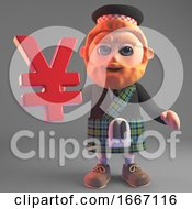 Bearded 3d Scottish Man With Red Beard And Kilt Holding A Yen Or Yuan Currency Symbol 3d Illustration