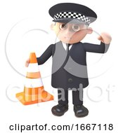 3d Policeman Character In Uniform Holding A Traffic Cone 3d Illustration