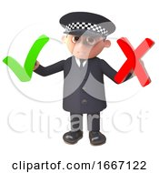 Poster, Art Print Of 3d Cartoon Police Officer In Uniform Holding A Tick And Cross 3d Illustration