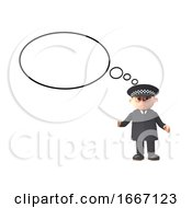 3d Cartoon Police Officer Character In Uniform With A Blank Thought Bubble 3d Illustration