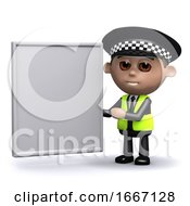 3d Police Officer With A Blank Banner