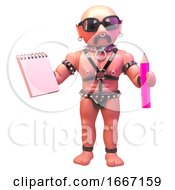 3d Gay Leather Fetish Man Holding A Notepad And Pencil 3d Illustration