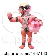 3d Fetish Gay Man In Leather Outfit Holding A Piggy Bank 3d Illustration