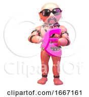 3d Fetish Gay Leather Man Holding A Pink Euro Currency Symbol 3d Illustration