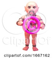 3d Fetish Gay Man In Leather Outfit Holding A Pink Copyright Symbol 3d Illustration