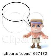 3d Bodybuilder With Blank Speech Balloon