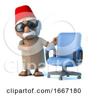 3d Moroccan With An Empty Office Chair