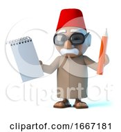 3d Moroccan Holding A Notepad And Pencil