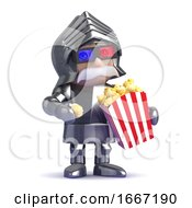 Poster, Art Print Of 3d Knight In Armour Eats Popcorn At The Movies