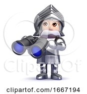 3d Knight With Binoculars